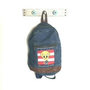 VTG 90s Tweety Bird Blue Jean Backpack Bag Flag
